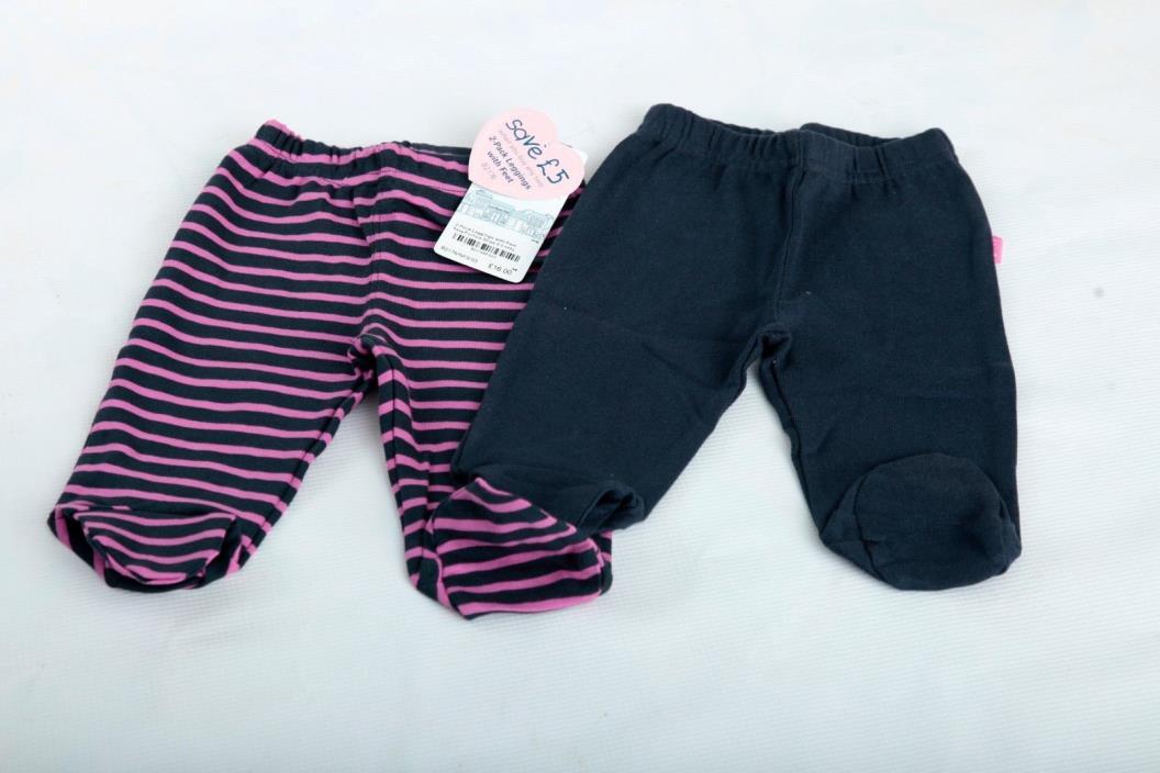 NWT Newborn JoJo Maman Bebe Leggings with feet 2 pack