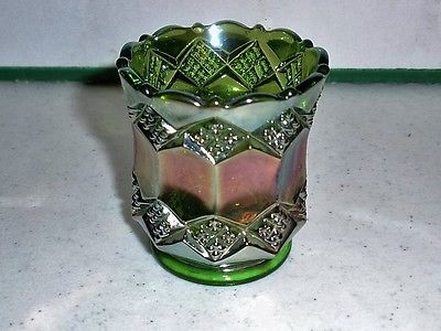 Imperial Glass Diamond Pattern Carnival Glass Toothpick Holder