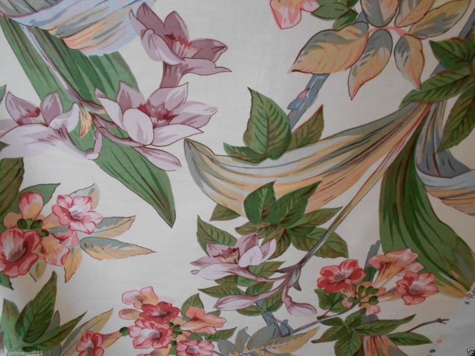 Brunschwig & Fils Floral Tropical Orchids Cotton Chintz Lrg New Remnant England
