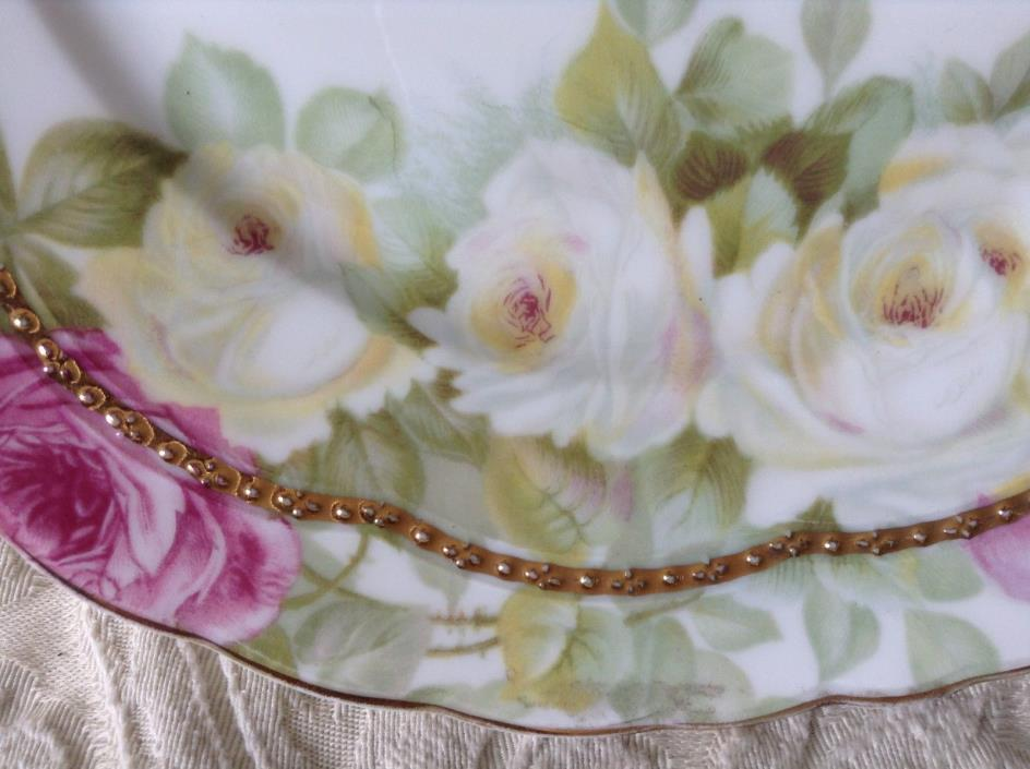 MINT RC BAVARIA, ROSENTHAL CABINET PLATE, DOUBLE GOLD, ROSES, MIRAMARE PATTERN 7