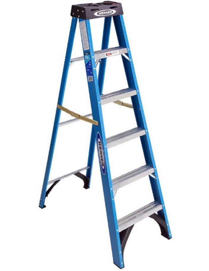 Werner 6-ft Fiberglass HolsterTop 250-lb Type Step Ladder Load Capacity 250 lb.