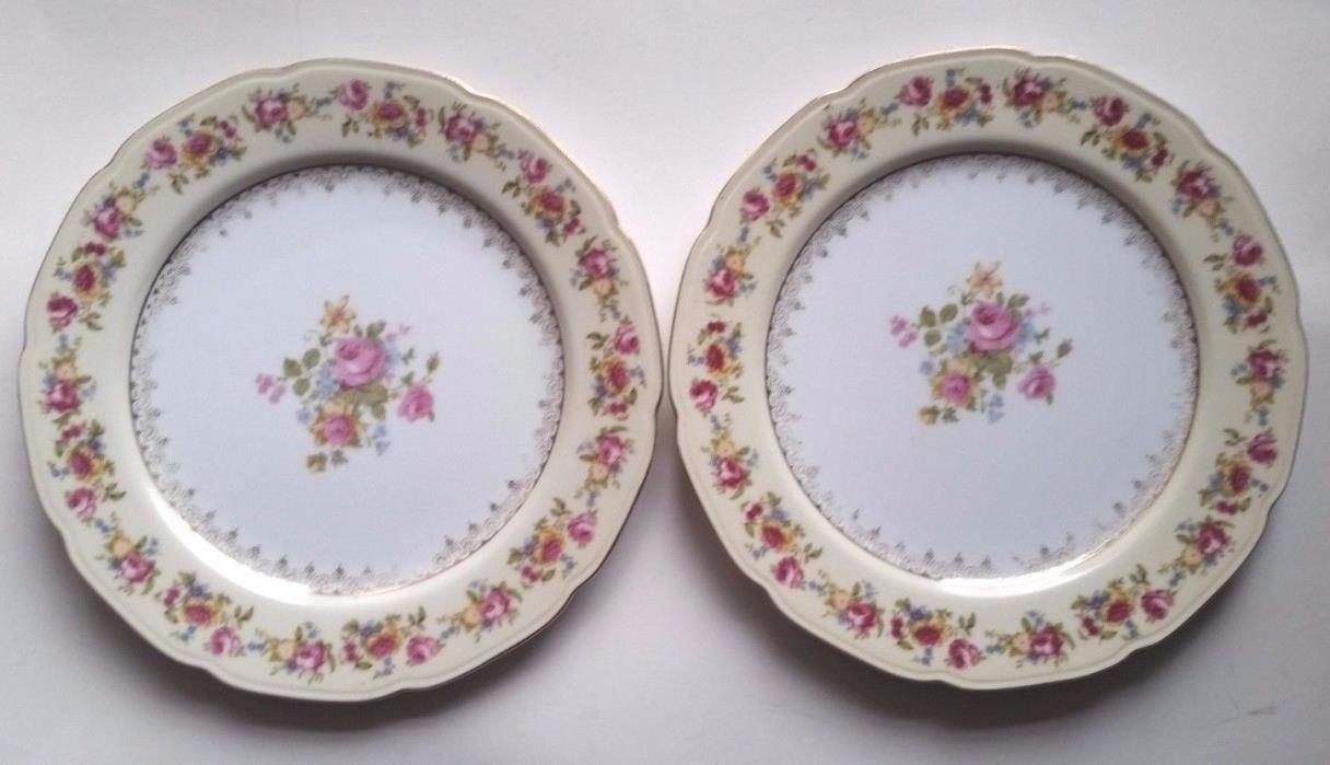 2 Vtg 40's GOLD CASTLE Hostess China - Occupied Japan - Dinner Plates 10