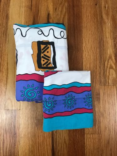 VTG Lion King Twin fitted Bed Sheet & Pillowcase Disney Simba Africa Fabric AF