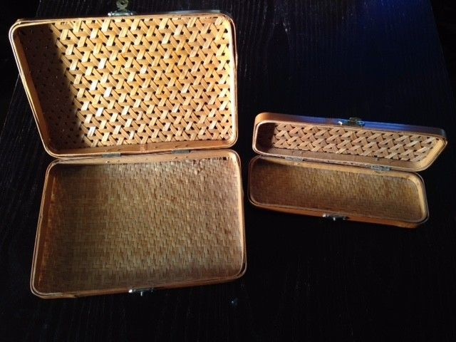 Pair Vintage Lillian Vernon Wicker Boxes  (RARE) 1970's
