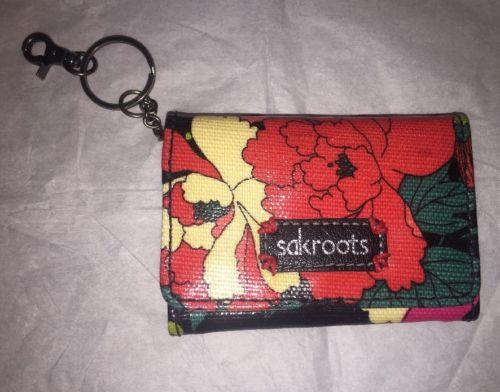 SAKROOTS  PEACE  ID Keychain Black Flower Purse Wallet