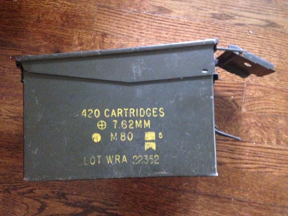 Vintage U.S. Military Metal Ammo Box 420 Cartridge 7.62MM M80 Lot WRA 22352