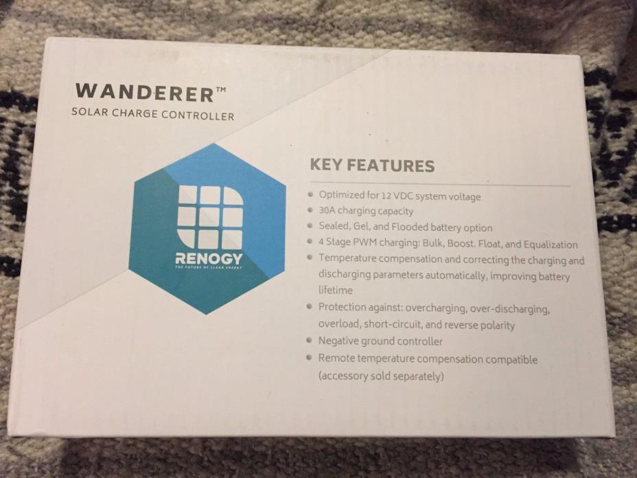 Renogy Wanderer 30A PWM Solar Panel Charge Controller Battery Regulator 12V