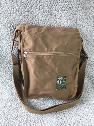 Wildlife Federation Cross Body Messenger Bag Tan Brown Adjustable Straps