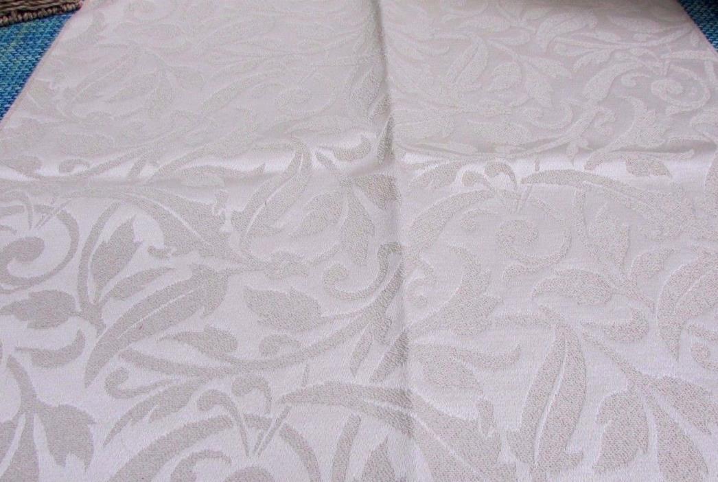 Vintage Textured Cream Damask Upholstery Sample Fabric, 26 1/2