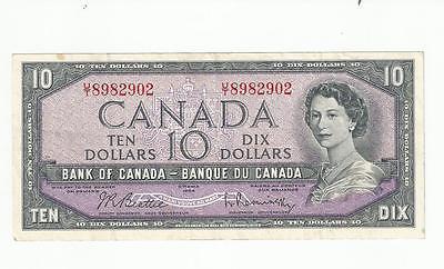 1954 TEN DOLLAR CANADIAN BANK NOTE BEATTIE RASMINSKY CIRCULATED UT 8982902
