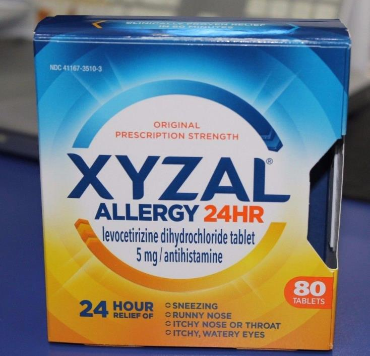 XYZAL ALLERGY 24hr 80 TABLETS exp:10/19 NEW