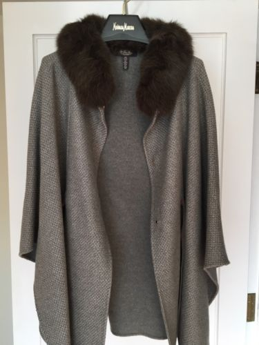NEW Loro Piana Fox Trimmed Baby Cashmere Cape Poncho Coat Jacket