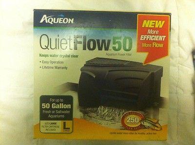 AQUEON QUIET FLOW 50 POWER FILTER FOR AQUARIUMS. 250 GPH.