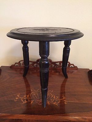 ANTIQUE VINTAGE WOOD FOOTSTOOL STOOL W HAND CARVED SEAT & 3 TURNED LEGS
