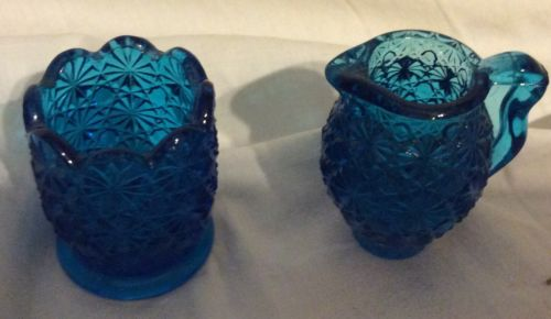 vintage blue glass toothpick holders