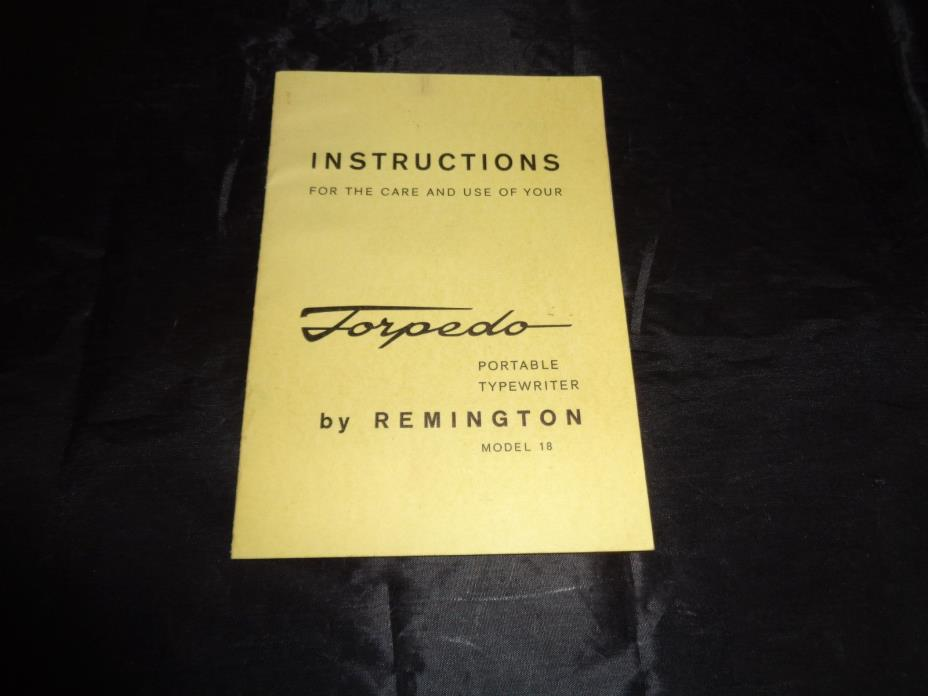 Vintage Remington Torpedo Portable Typewriter Manual
