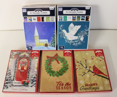 NIB HOLIDAY TIME CHRISTMAS CARDS LOT 0F 5 BOXES 118 TOTAL CARDS MANY STYLES NIB