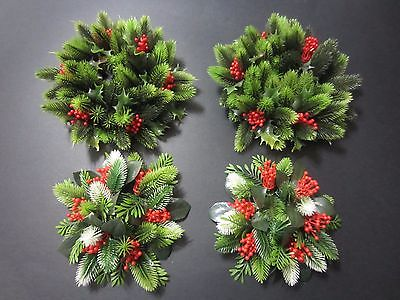 Vtg Lot of 4 CHRISTMAS Plastic Candle Ring Wreaths Red berries Holly Pine Needle
