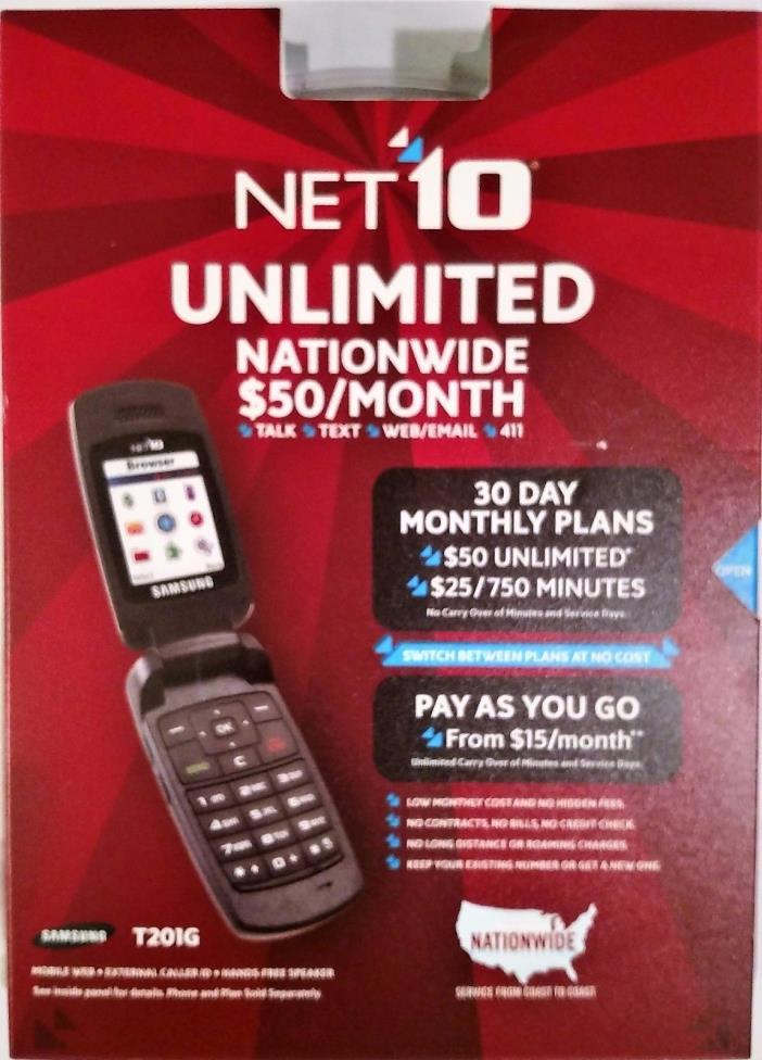 NET10 Samsung T201G Flip Cell Phone Silver Sealed Box NEW
