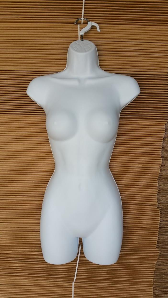 Female Mannequin Torso w/ Crack between her Thighs  -White Hanging Dress Form