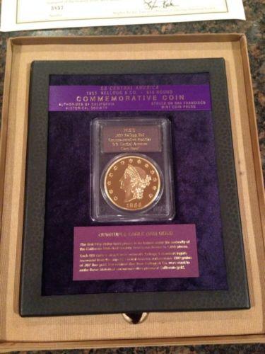 $50 Gold 1855 Kellogg Restrike W/ Copper Frame, Box & COA. Gem Proof PCGS