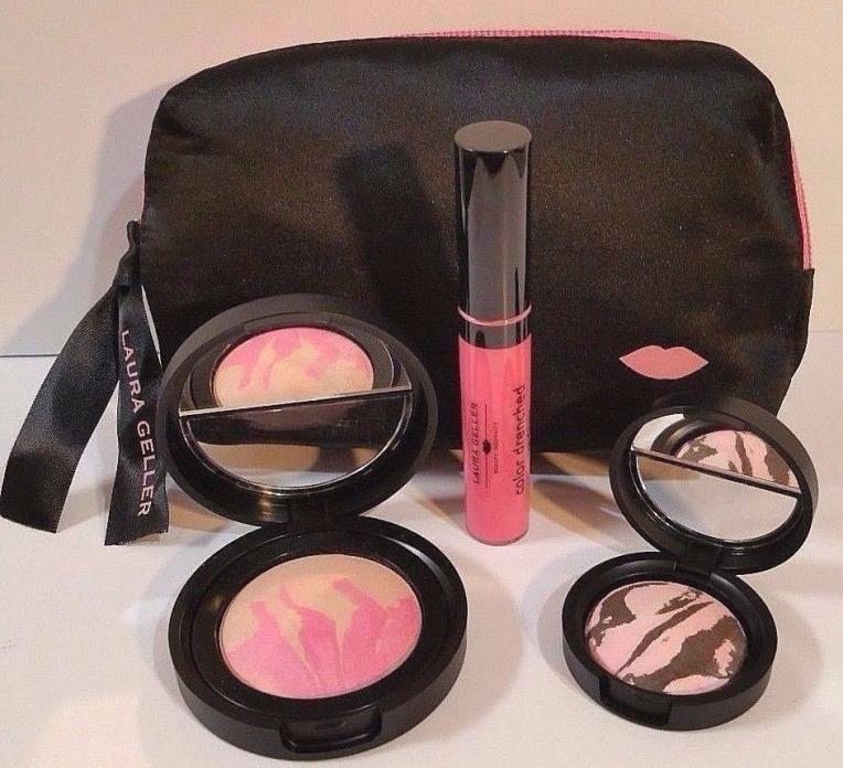 Laura Geller IT's a Pink Thing Blush, Eye Shadow, Lip Gloss w/Black Satin Bag