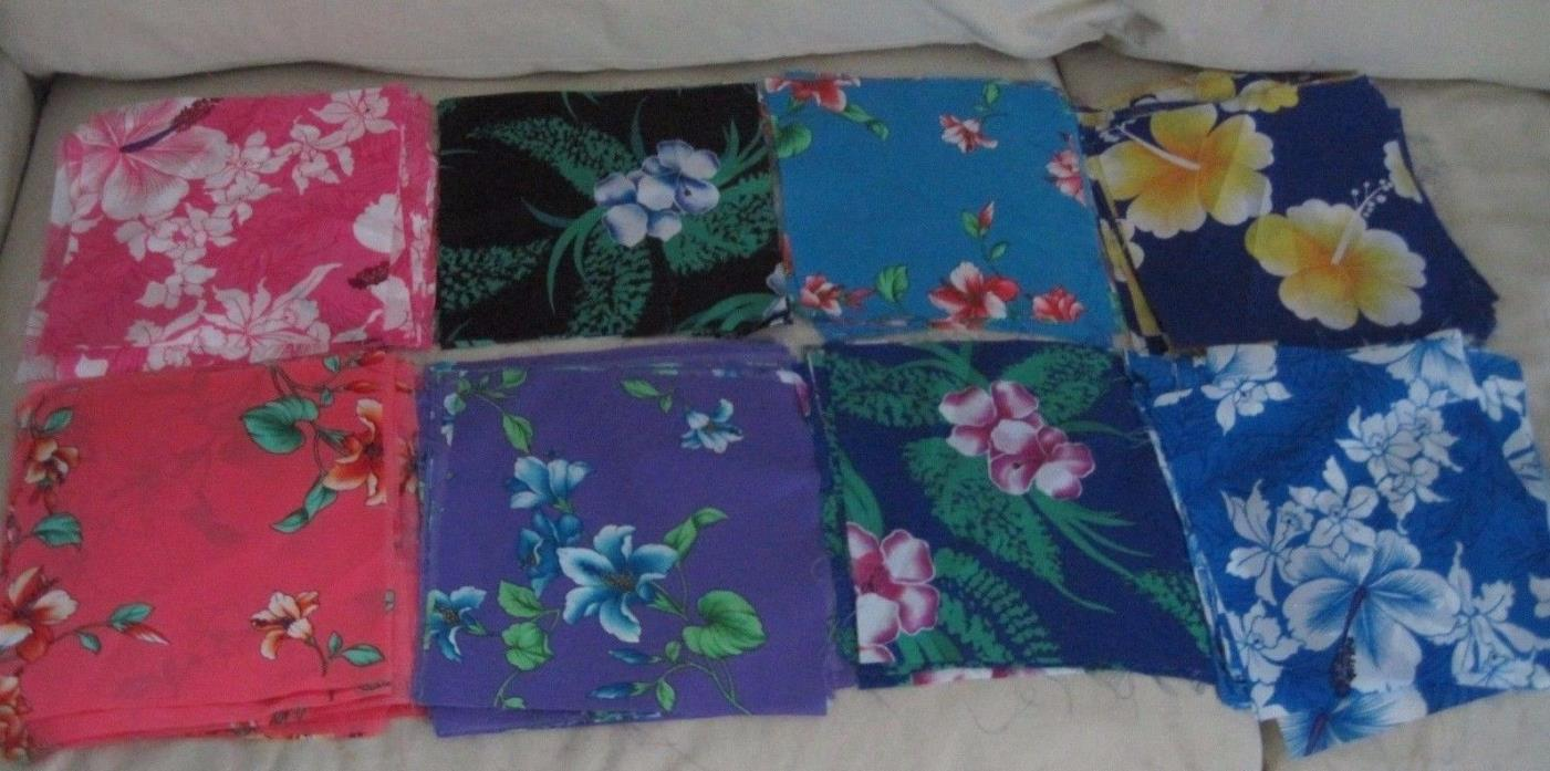 Vintage Lot Nylon Satin Hawaiian Fabric Squares 9x9 1970s 1980s Various Colors