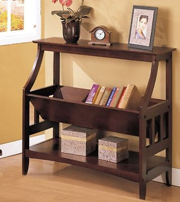 Poundex F4619 Traditional Magazine Table With V Shaped Bin In Walnut