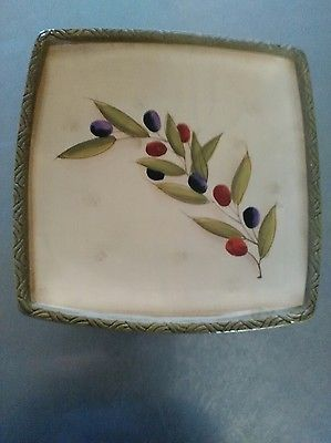 Clay Art #1127 Antique Olive hand painted appetizer plate NWOT