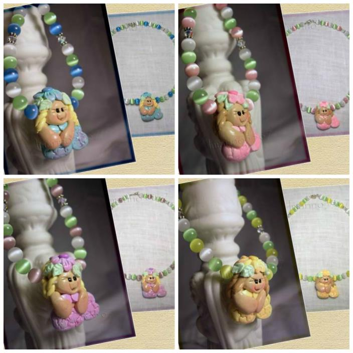 Little Mermaid Childs Necklaces Cat Eye Swarovski Bali Silver Handmade 4 Colors