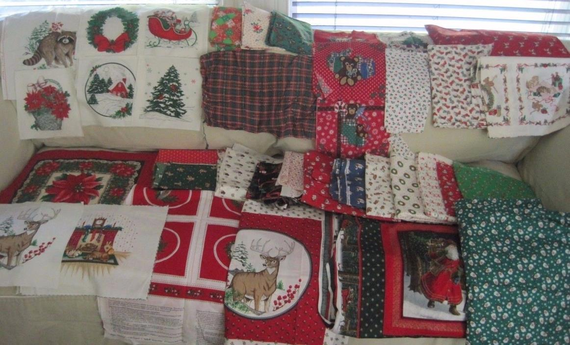 Vintage Lot of Christmas Fabric 1970s 1980s 1990s Various Colors Prints 8 Pounds
