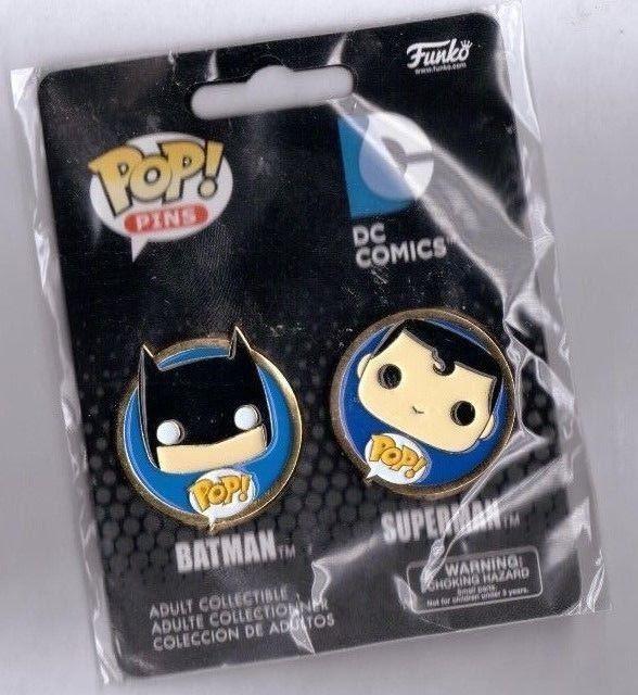 NEW DC COMICS  POP PINS OF BATMAN AND SUPERMAN .