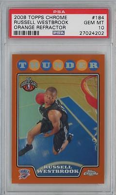 2008 Topps Chrome Orange Refractor #184 Russell Westbrook/499 RC Gem Mint PSA 10