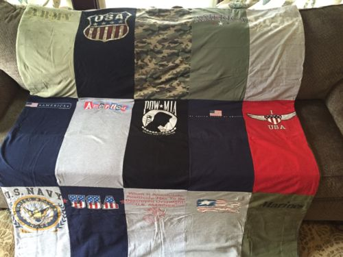 One Of A Kind Armed Forces/Military Tshirt Quilt