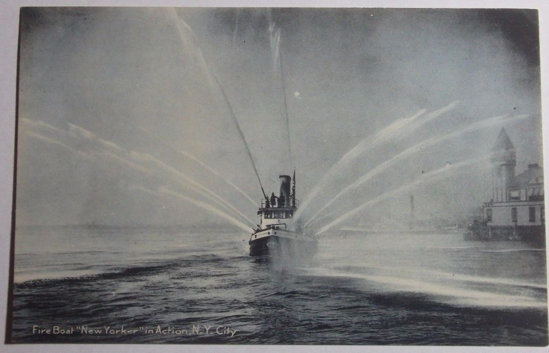 1905 PHOTO POSTCARD FIRE BOAT NEW YORKER IN ACTION NEW YORK CITY