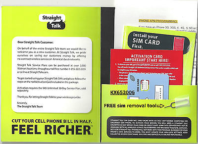 For Straight Talk Nano SIM Card 4G LTE Fits iPhone 5, 5S, 5C, 6, 6+, iPhone 7