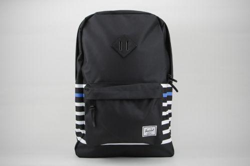 Herschel Heritage 21.5L 10007-01173 Black Canvas Offset Stripe Laptop Backpack