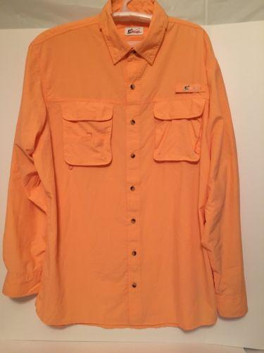 Mens World Wide Sportsman Long Sleeve Vented Angler Fishing Shirt XLT Nectarine