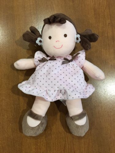 Child Of Mine Doll Brown Hair Pink Polka Dot Rattle Lovey Baby Toy Brunette