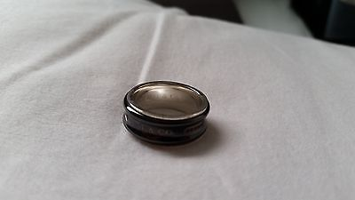 Tiffany & Co. Mens Sterling Silver and Black Titanium Ring size 8