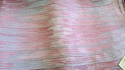 Vintage Heavy Weight Upholstery Weight Striped Fabric Reds & Aqua 1 Yard X 58