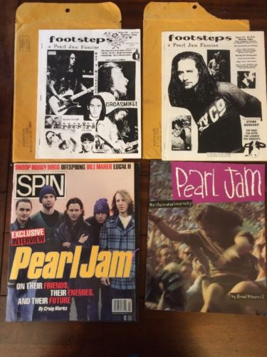 Pearl Jam - Fan Club Lot - Stickers Flats Zines Magazines Postcards Grunge Rock