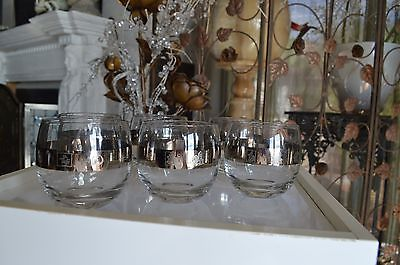 6 Vintage SILVER BAND ROLY POLY BAR  GLASSES