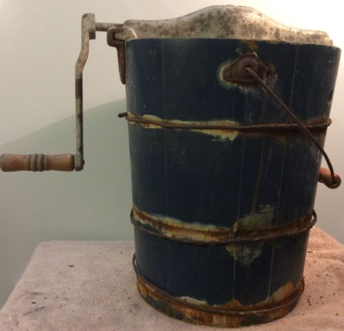 Old Blue Grass Hand Crank Ice Cream Bucket Maker Wood