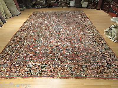 11x17 Rectangle Antique Sarouk Vegetable Dye Handmade-knotted Wool Rug T-111