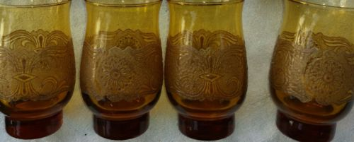Set Of Four Vtg. 1970s Anchor Hocking Americana pattern harvest gold glassware
