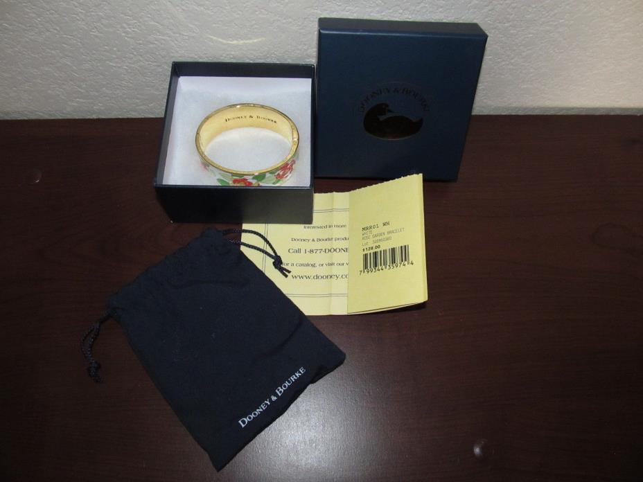 New In Box Dooney & Bourke Jewelry Rose Garden Bracelet Gold Tone & White Red
