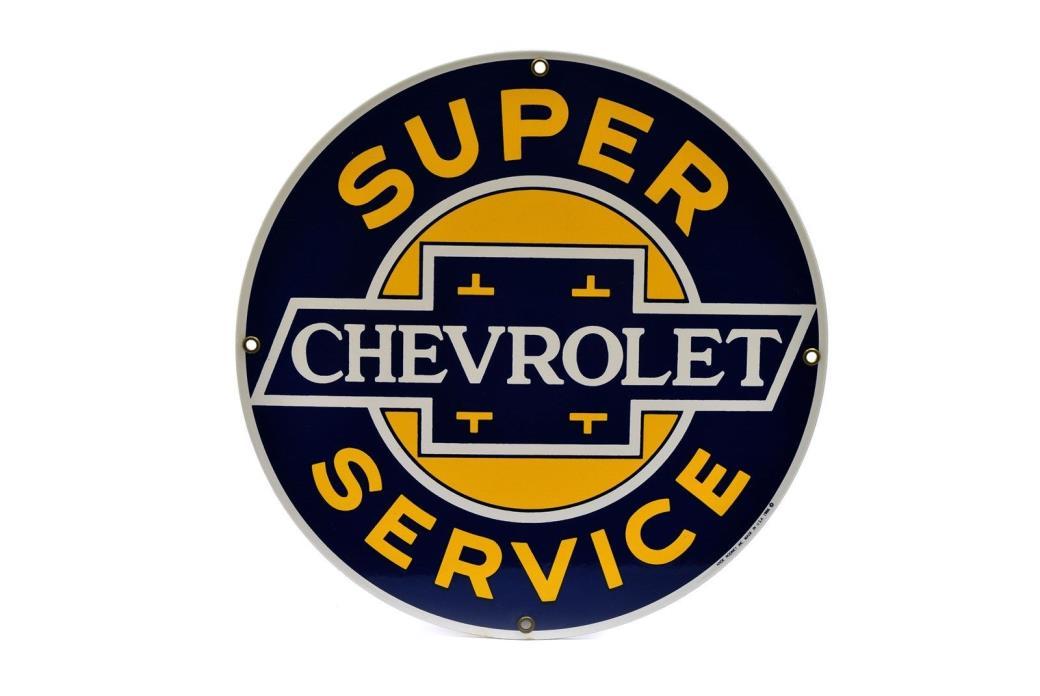 Ande Rooney Porcelain Enameled Sign Chevrolet Super Service Round Chevy Sign