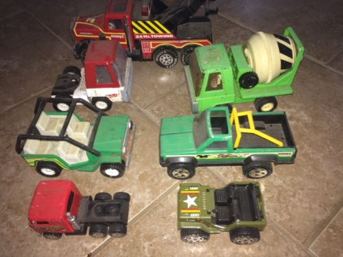 Vintage Buddy L Lot 7 Truck Cement Mixer Jeep Tractor Wrecker Army Pickup