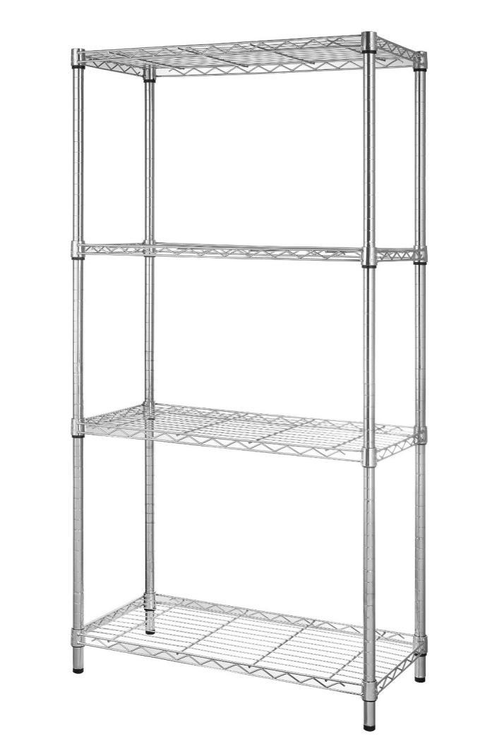 4 Tire Shelf Adjustable Steel Metal Wire Shelving Storage Rack 1400 Lbs Chrome